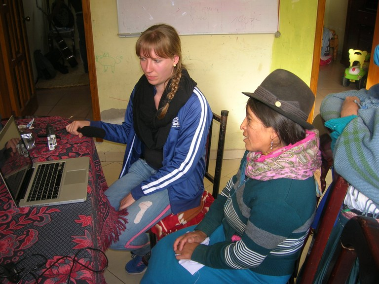 A Grad student works with a native to better understand their language